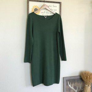 J. Jill Green Wool Knit Sweater Dress Long Sleeve